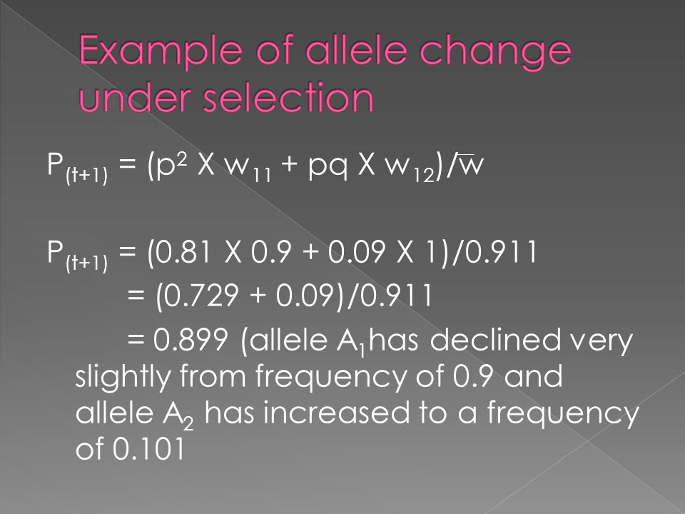 Example of allele change under selection