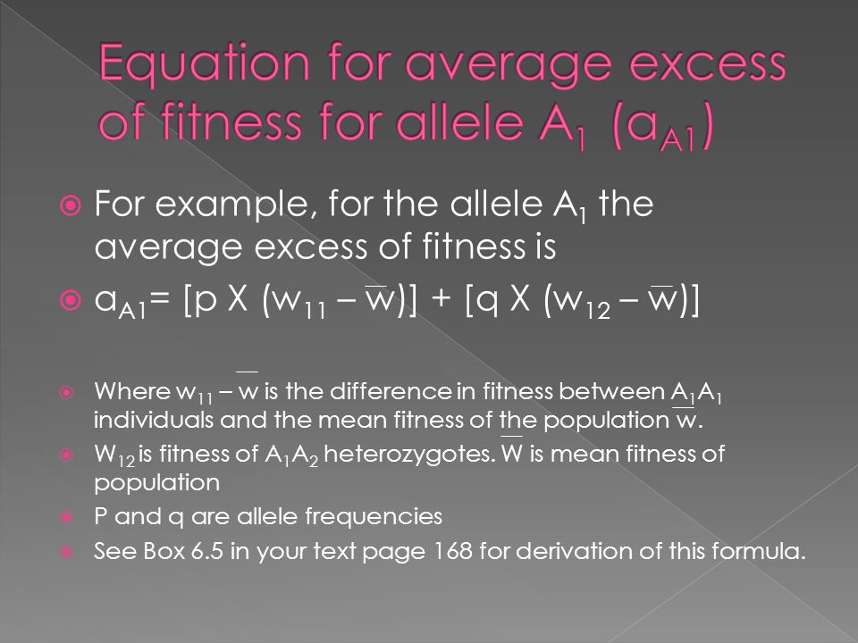 Equation for average excess of fitness for allele A1 (aA1)