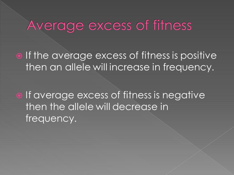 Average excess of fitness