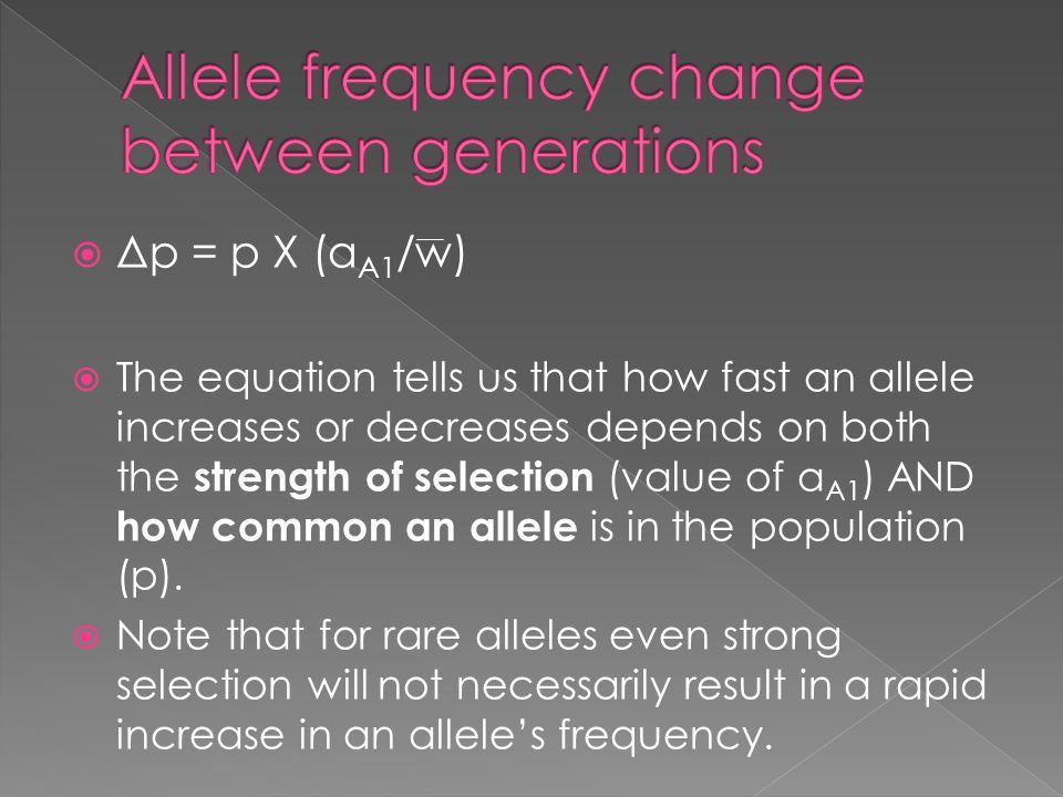 Allele frequency change between generations