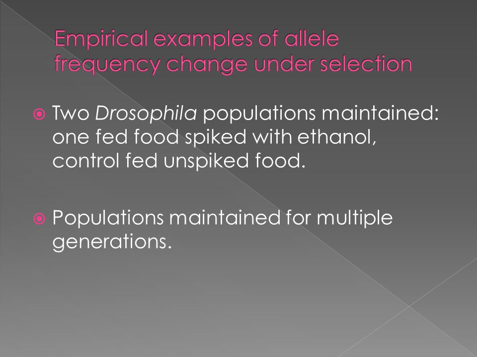 Empirical examples of allele frequency change under selection