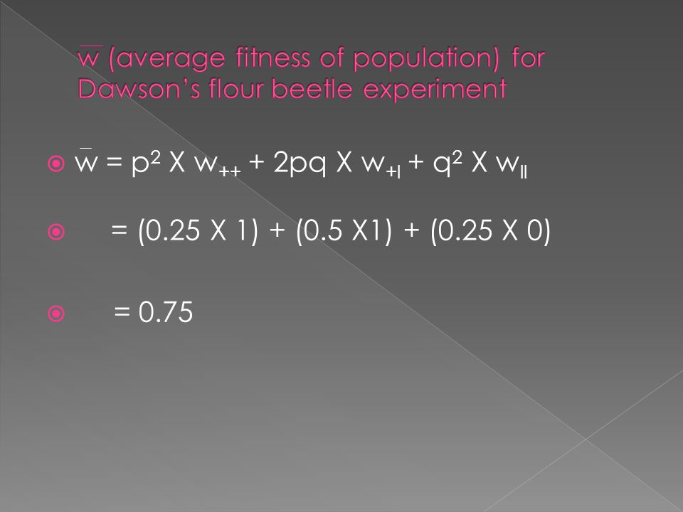 w (average fitness of population) for Dawson's flour beetle experiment