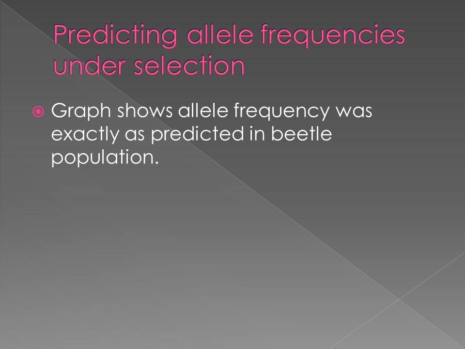 Predicting allele frequencies under selection