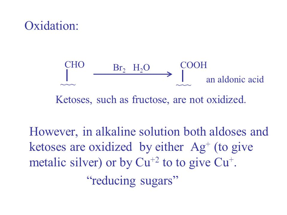 Oxidation: CHO. COOH. Br2 H2O. an aldonic acid. ~~~ ~~~ Ketoses, such as fructose, are not oxidized.