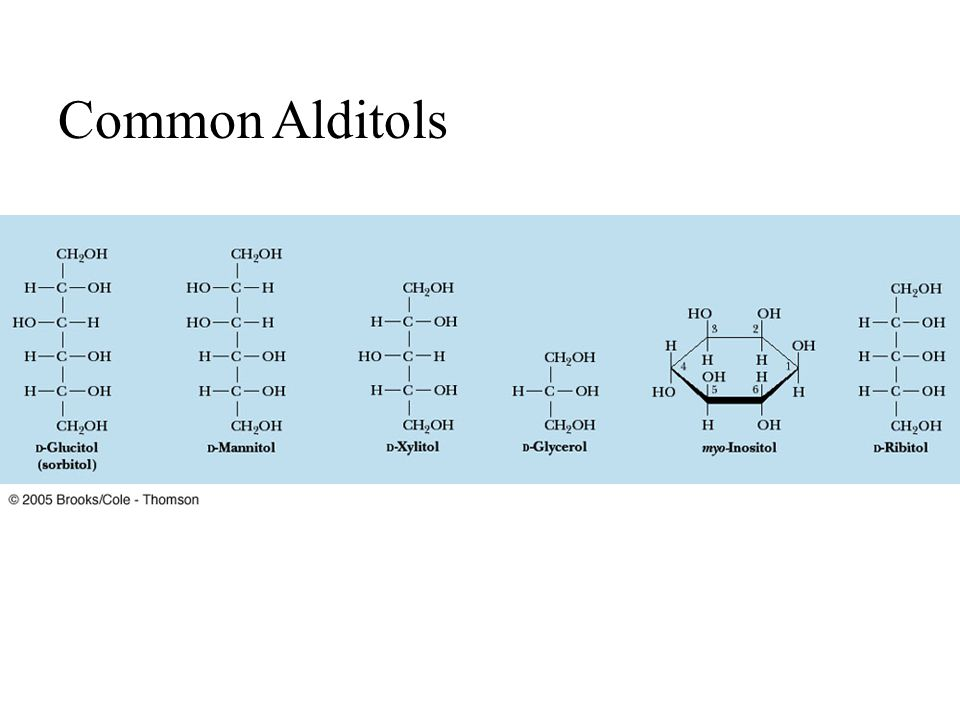 Common Alditols FIGURE 7.11 Structures of some sugar alcohols. Fig. 7-11, p.212 35