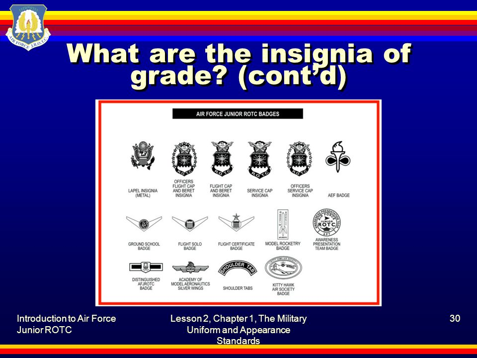 What are the insignia of grade (cont'd)