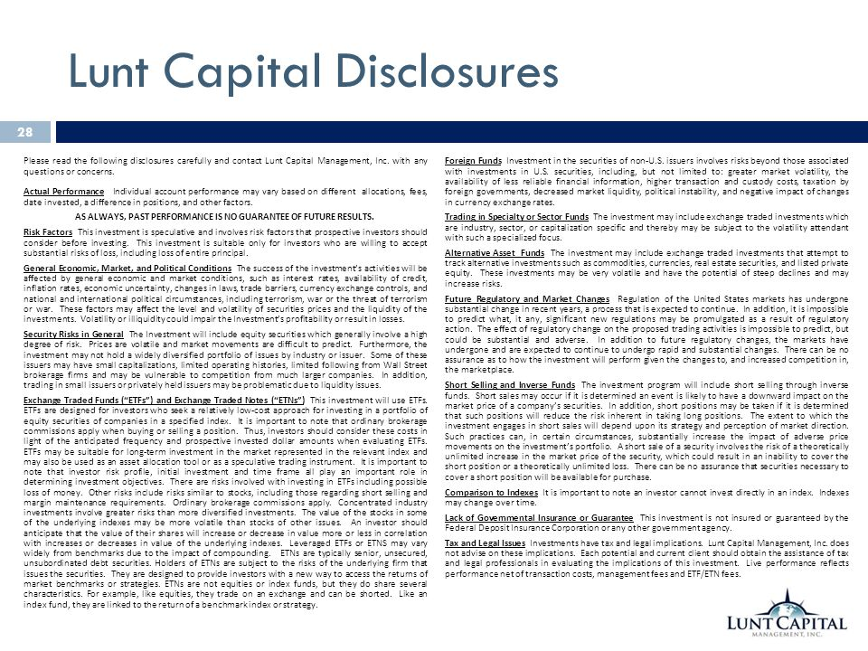 Lunt Capital Disclosures