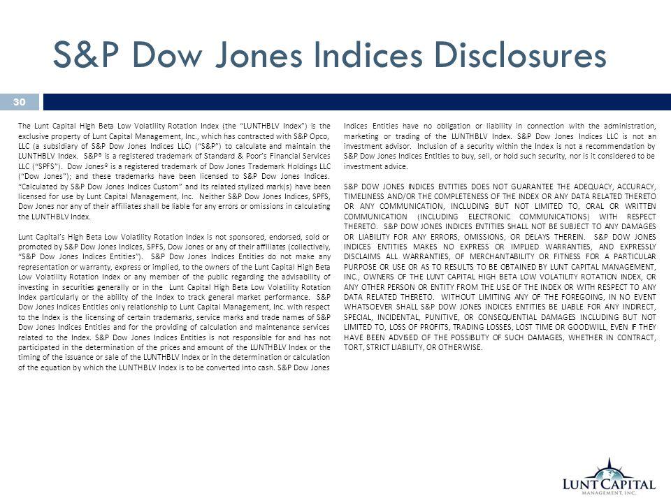 S&P Dow Jones Indices Disclosures