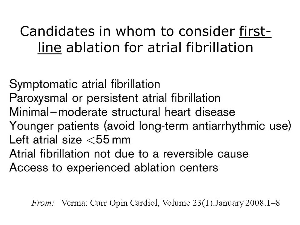 Candidates in whom to consider first-line ablation for atrial fibrillation