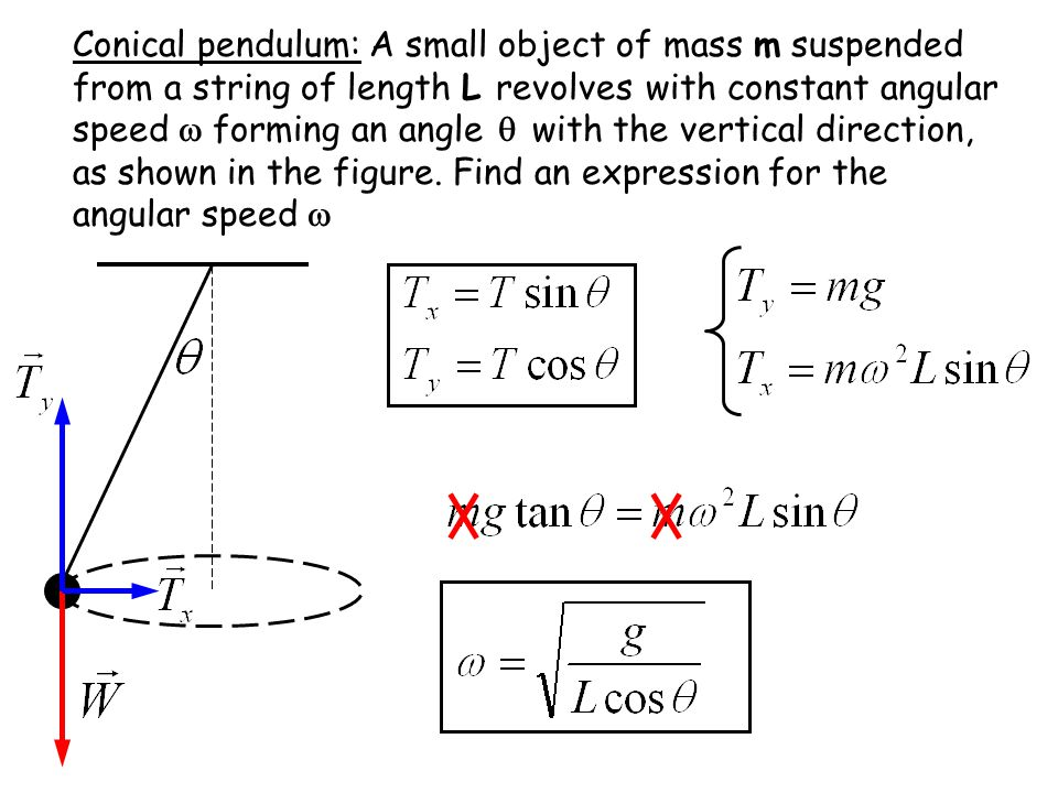 Conical pendulum: A small object of mass m suspended from a string of length L revolves with constant angular speed  forming an angle  with the vertical direction, as shown in the figure.