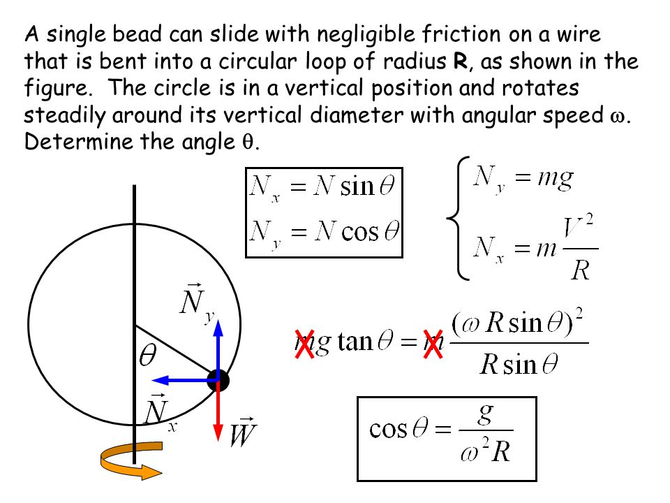 A single bead can slide with negligible friction on a wire that is bent into a circular loop of radius R, as shown in the figure.
