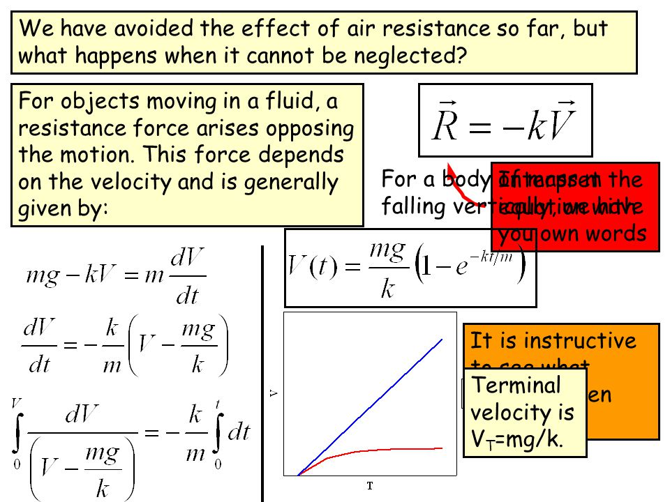 We have avoided the effect of air resistance so far, but what happens when it cannot be neglected