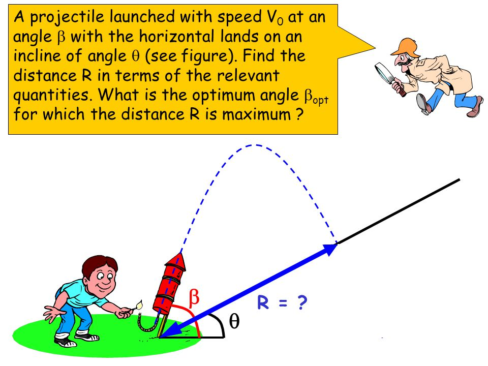 A projectile launched with speed V0 at an angle  with the horizontal lands on an incline of angle  (see figure). Find the distance R in terms of the relevant quantities. What is the optimum angle opt for which the distance R is maximum