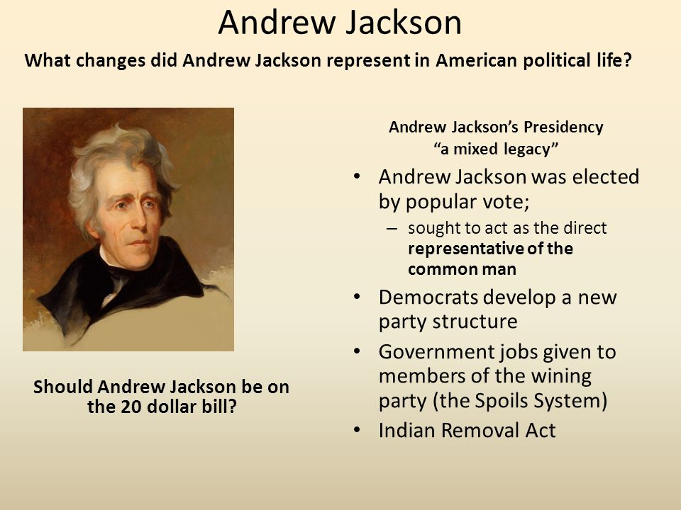 Andrew Jackson Andrew Jackson was elected by popular vote;
