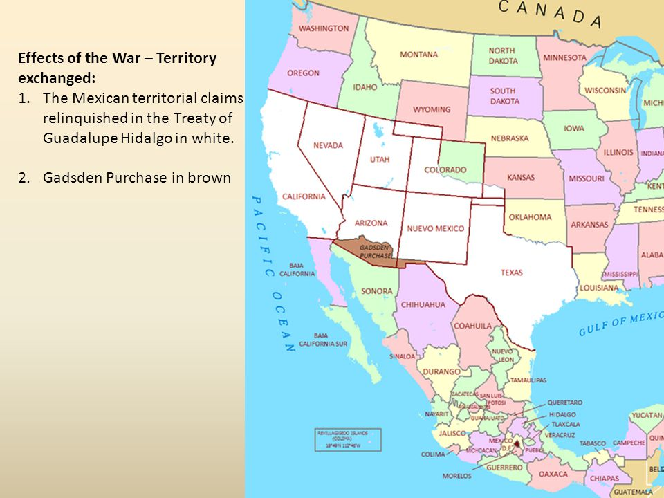 Effects of the War – Territory exchanged: