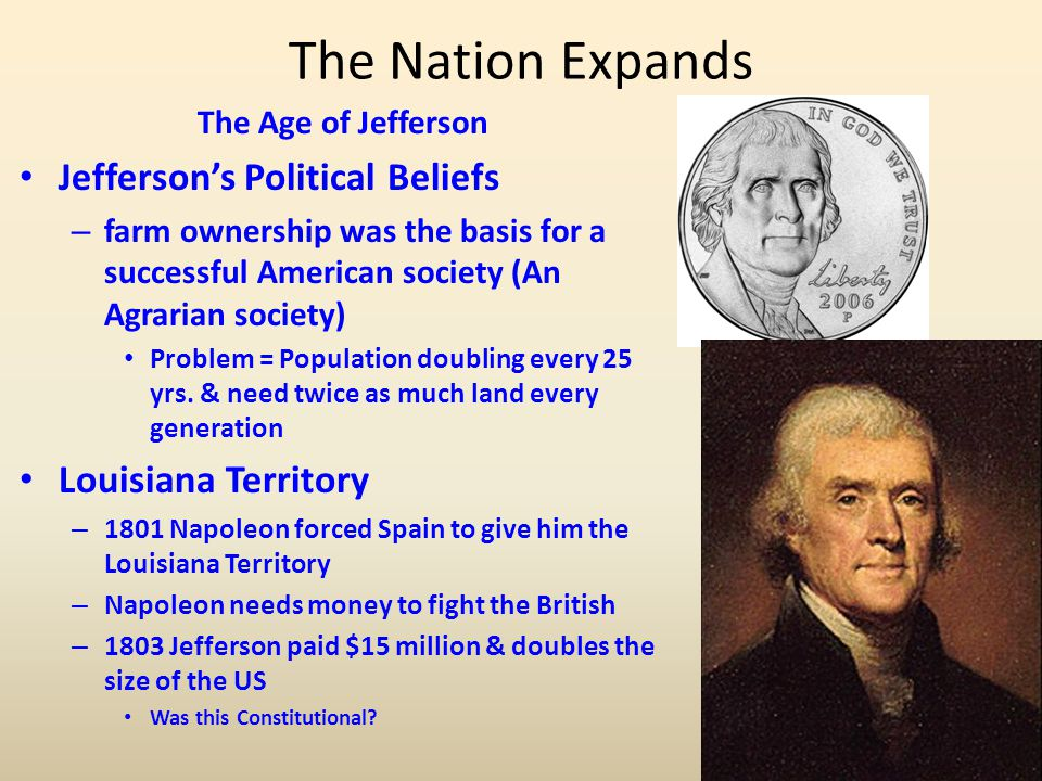 The Nation Expands Jefferson's Political Beliefs Louisiana Territory