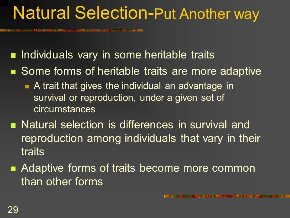 Natural Selection-Put Another way
