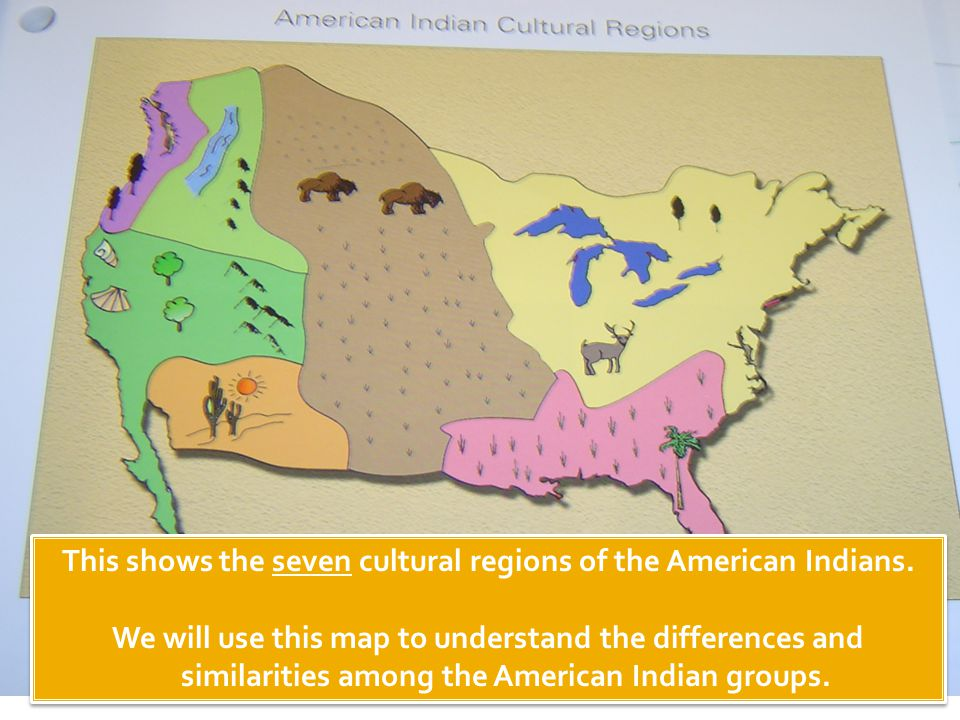 This shows the seven cultural regions of the American Indians.
