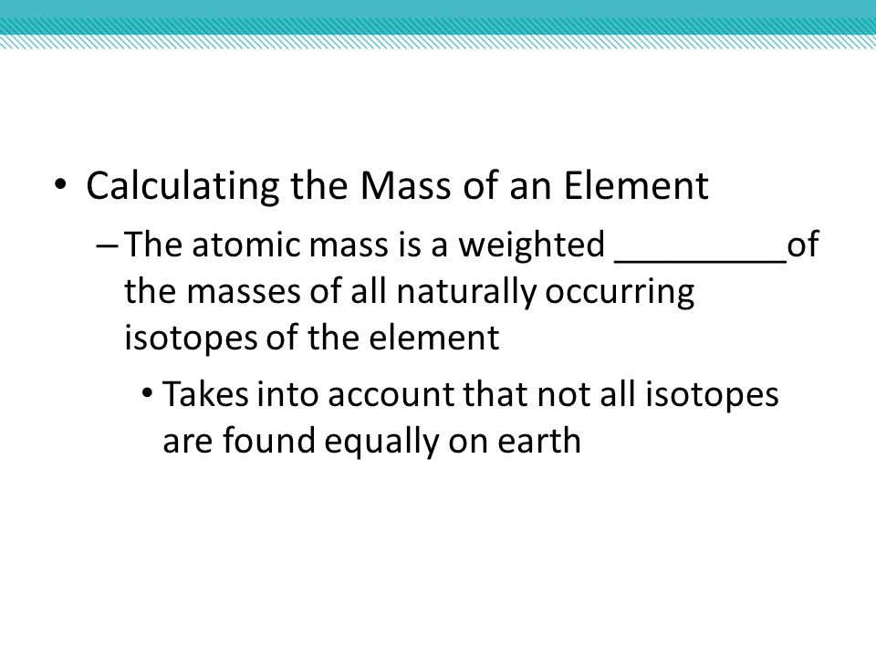 how to find mass of an atom of an element