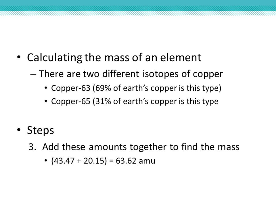 Calculating the mass of an element