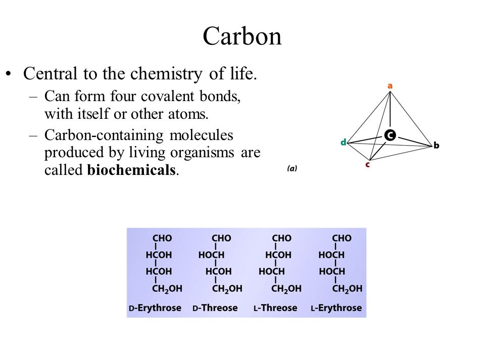 Carbon Central to the chemistry of life.