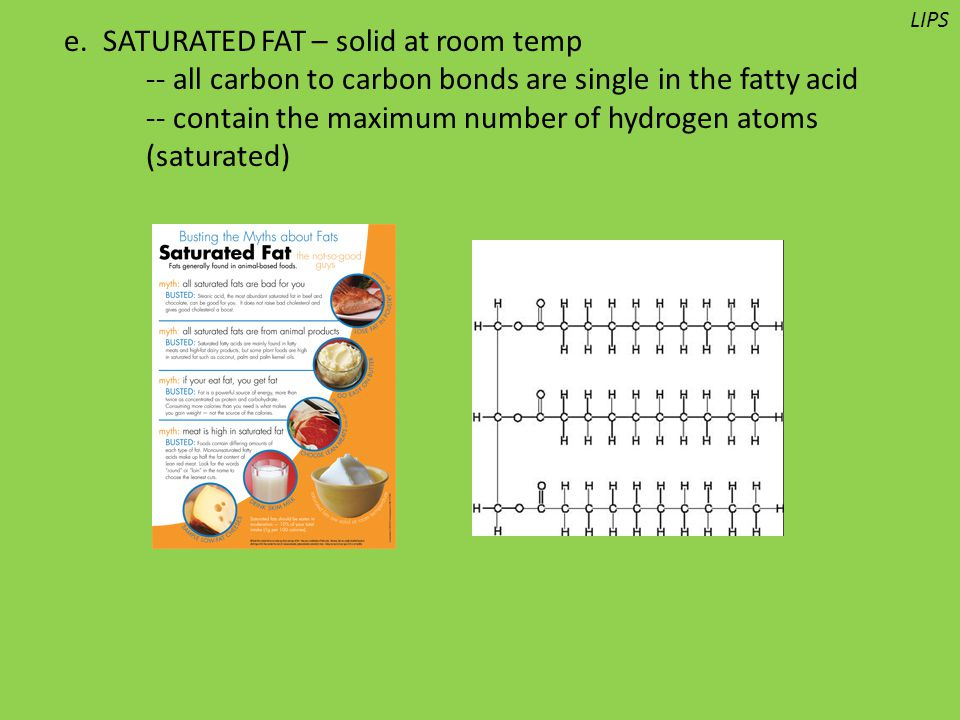 e. SATURATED FAT – solid at room temp