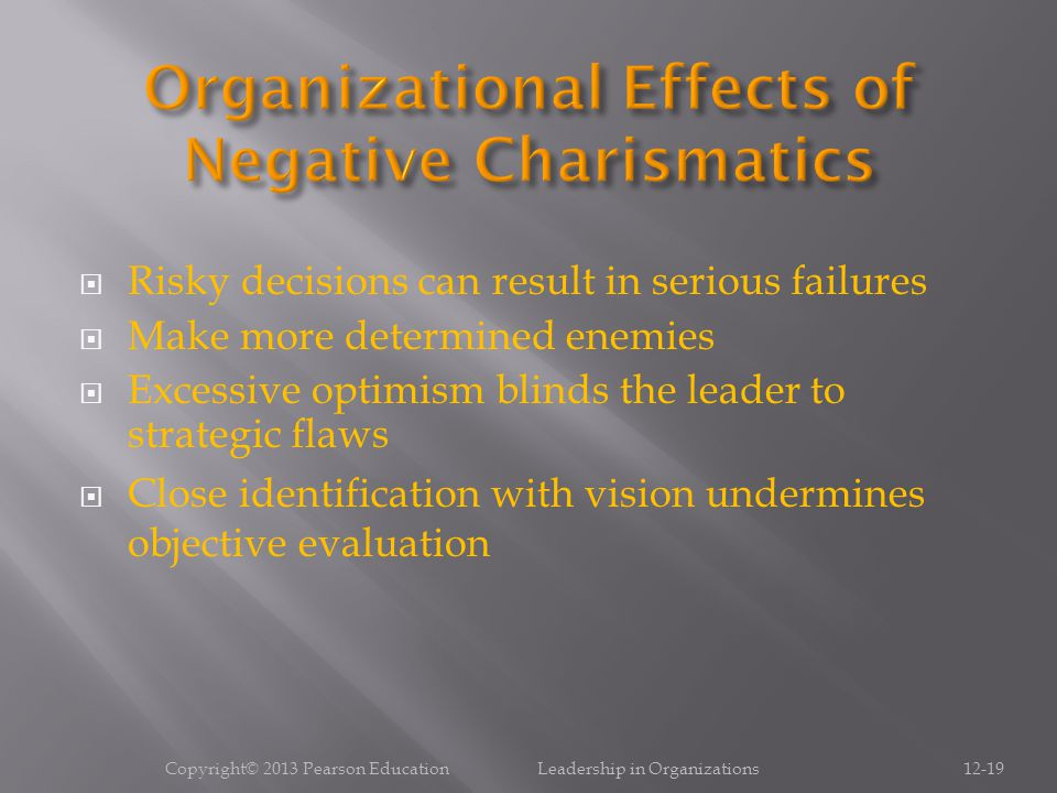 Organizational Effects of Negative Charismatics