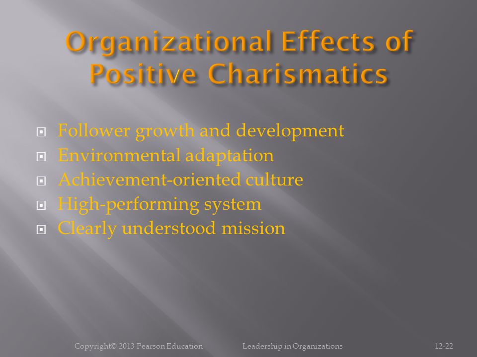 Organizational Effects of Positive Charismatics