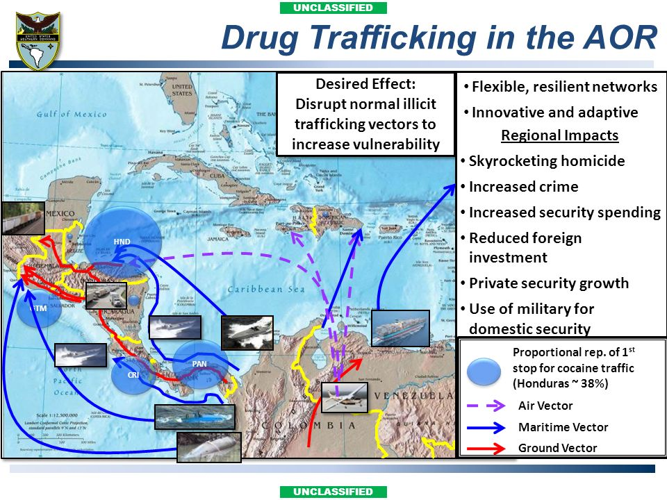 Disrupt normal illicit trafficking vectors to increase vulnerability