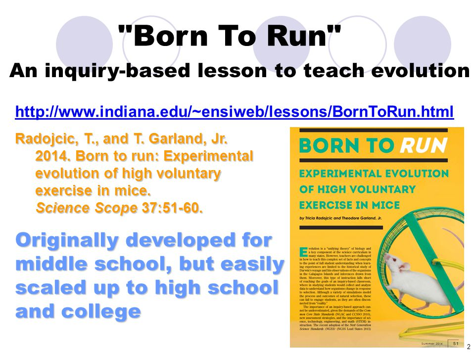 Born To Run An inquiry-based lesson to teach evolution