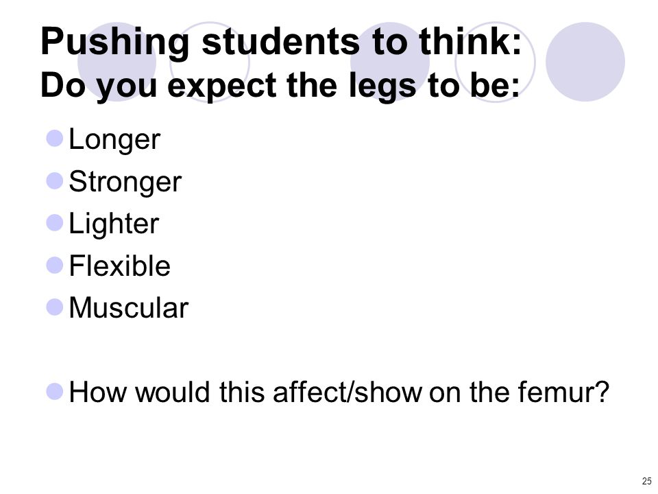 Pushing students to think: Do you expect the legs to be: