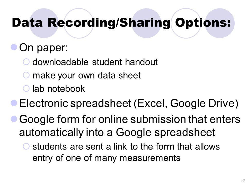Data Recording/Sharing Options: