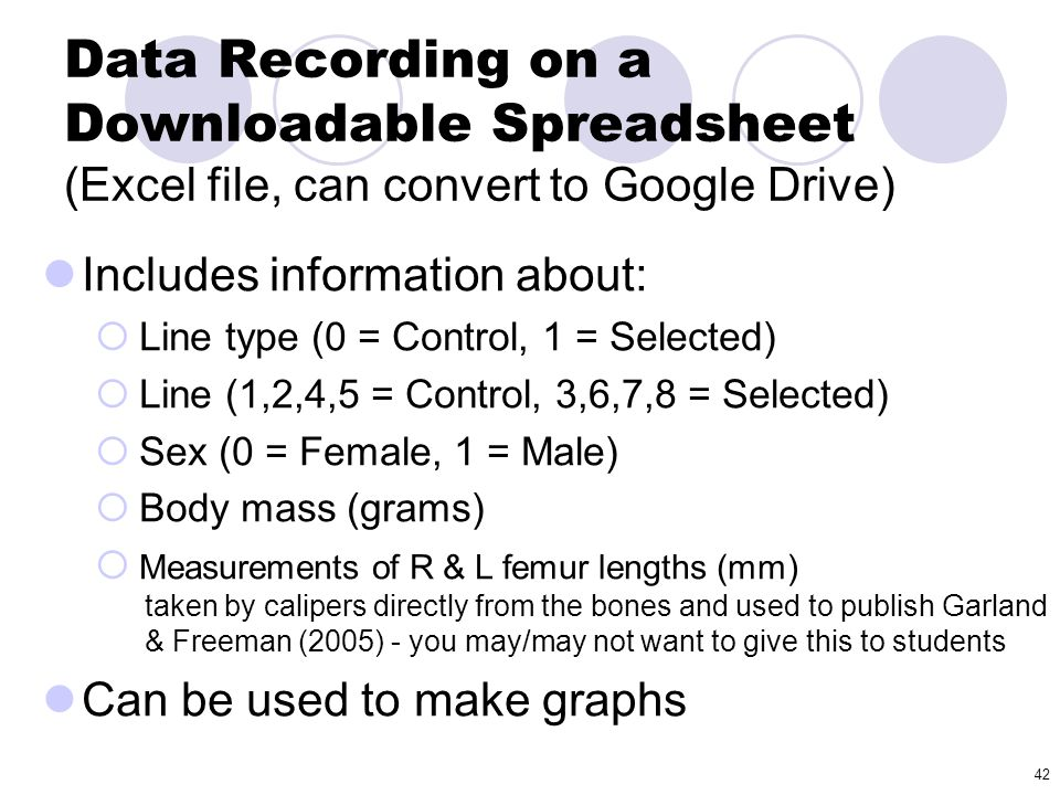 Data Recording on a Downloadable Spreadsheet (Excel file, can convert to Google Drive)