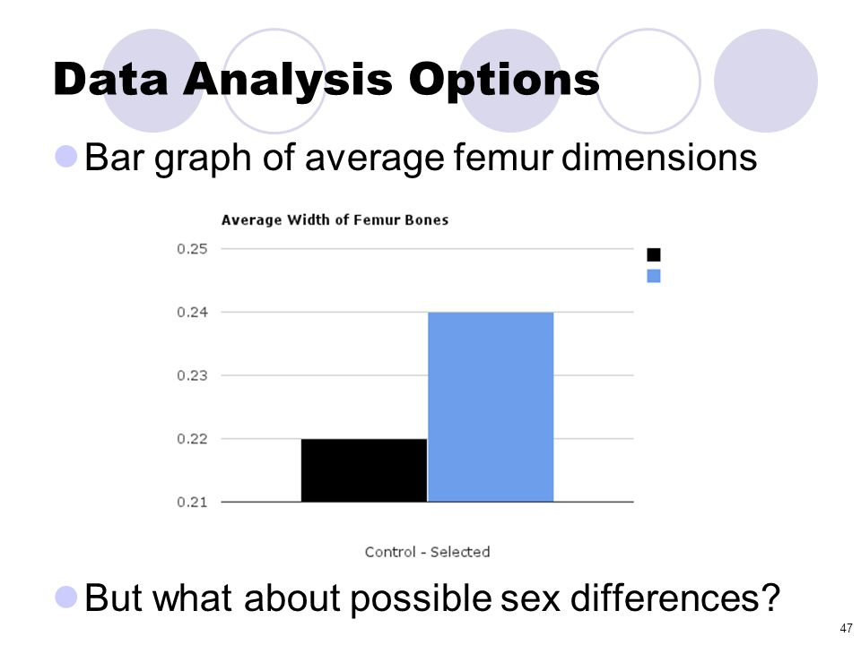 Data Analysis Options Bar graph of average femur dimensions