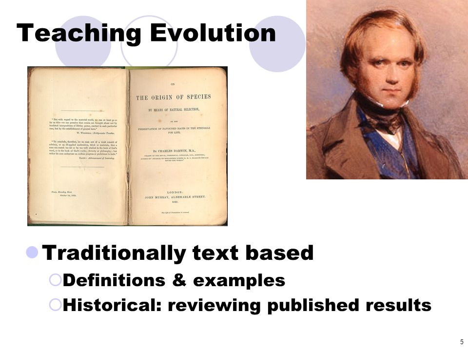 Teaching Evolution Traditionally text based Definitions & examples