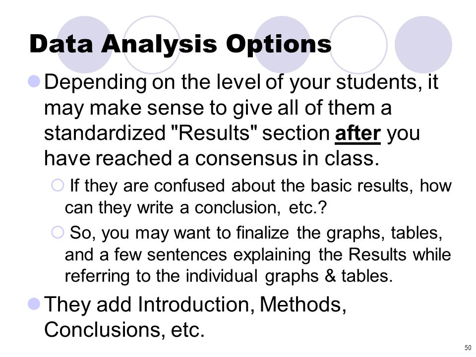 Data Analysis Options