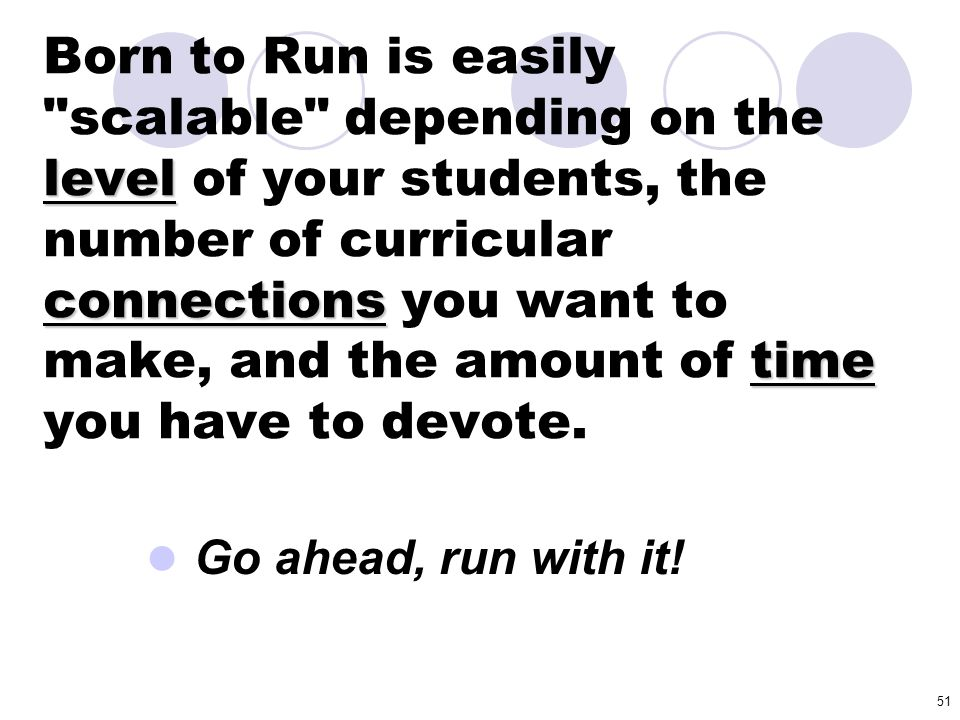 Born to Run is easily scalable depending on the level of your students, the number of curricular connections you want to make, and the amount of time you have to devote.