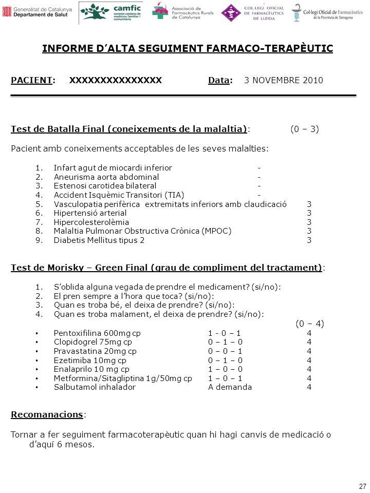 INFORME D'ALTA SEGUIMENT FARMACO-TERAPÈUTIC