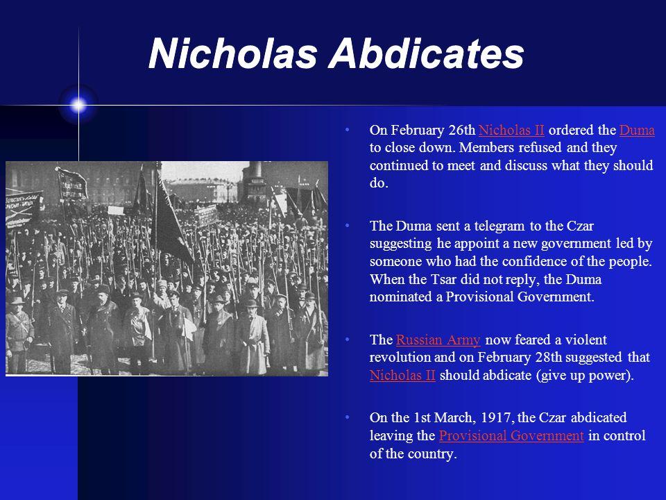 Nicholas Abdicates