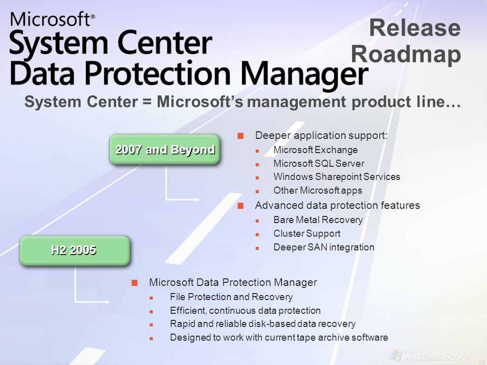 System Center = Microsoft's management product line…