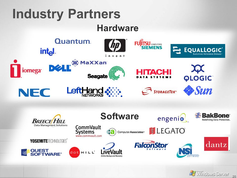 Industry Partners Hardware Software PURPOSE OF THIS SLIDE KEY POINTS