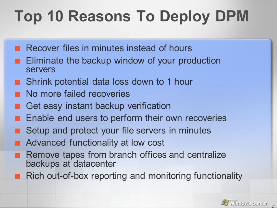 Top 10 Reasons To Deploy DPM