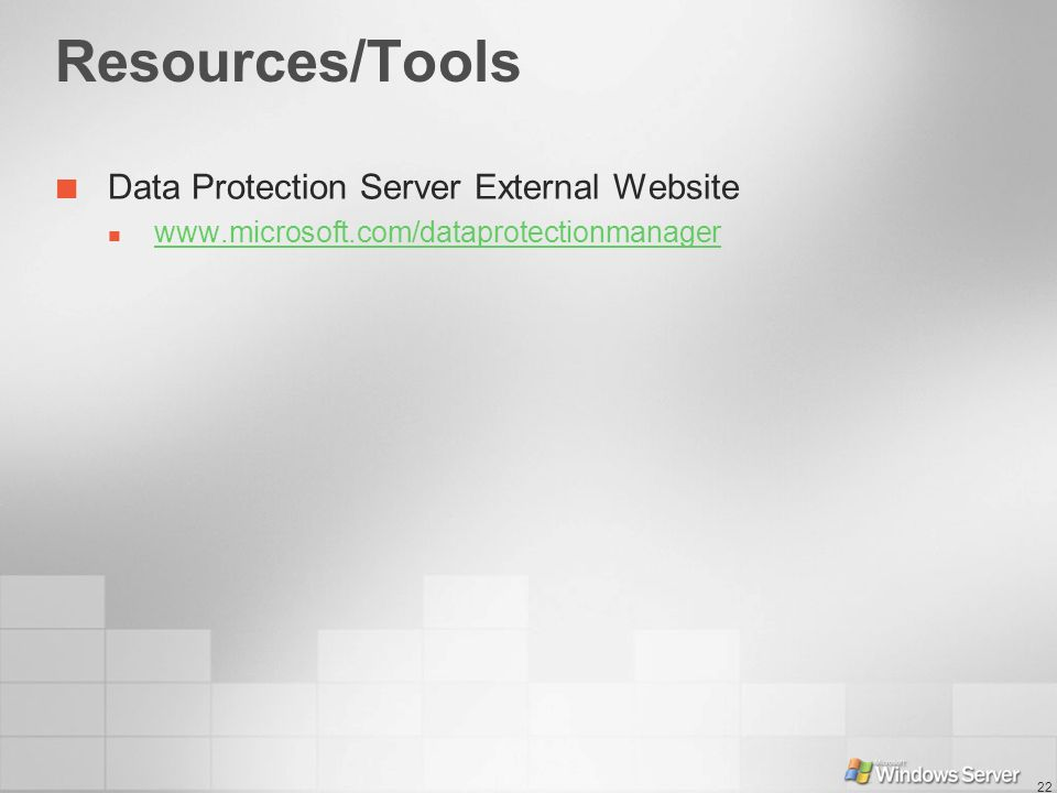 Resources/Tools Data Protection Server External Website