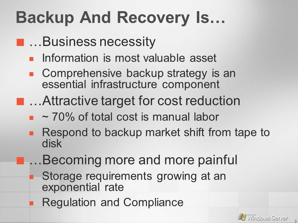 Backup And Recovery Is…