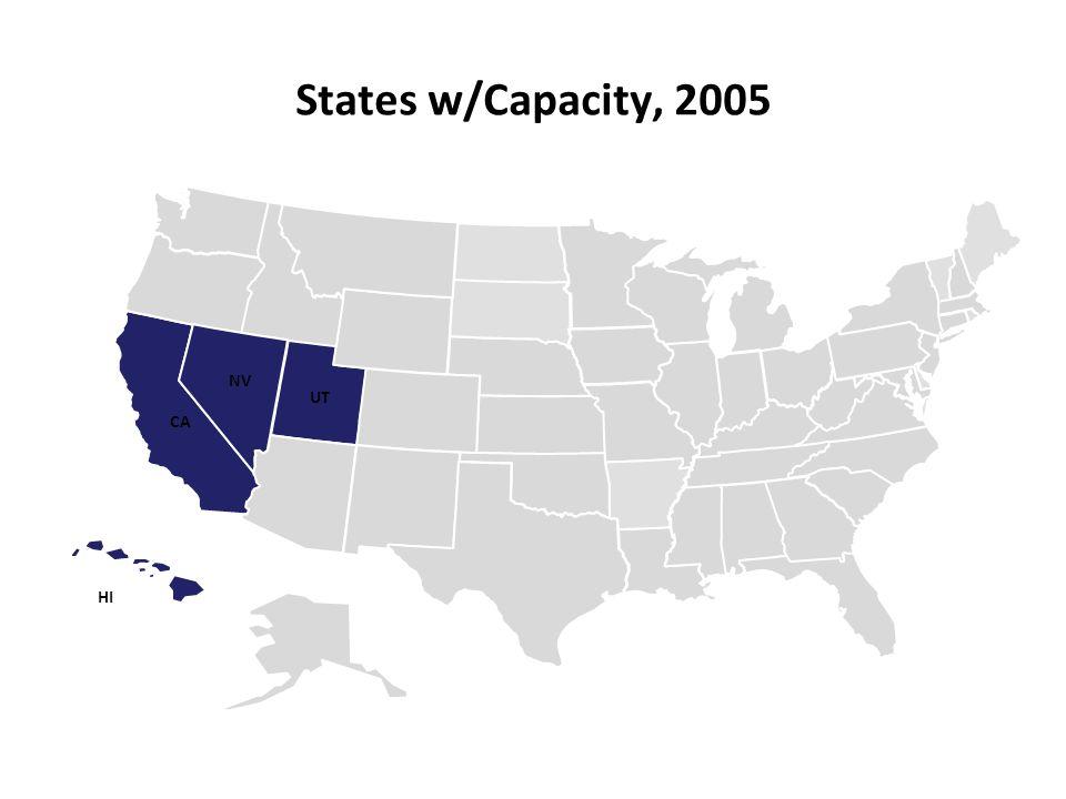 States w/Capacity, 2005 UT NV CA HI 11