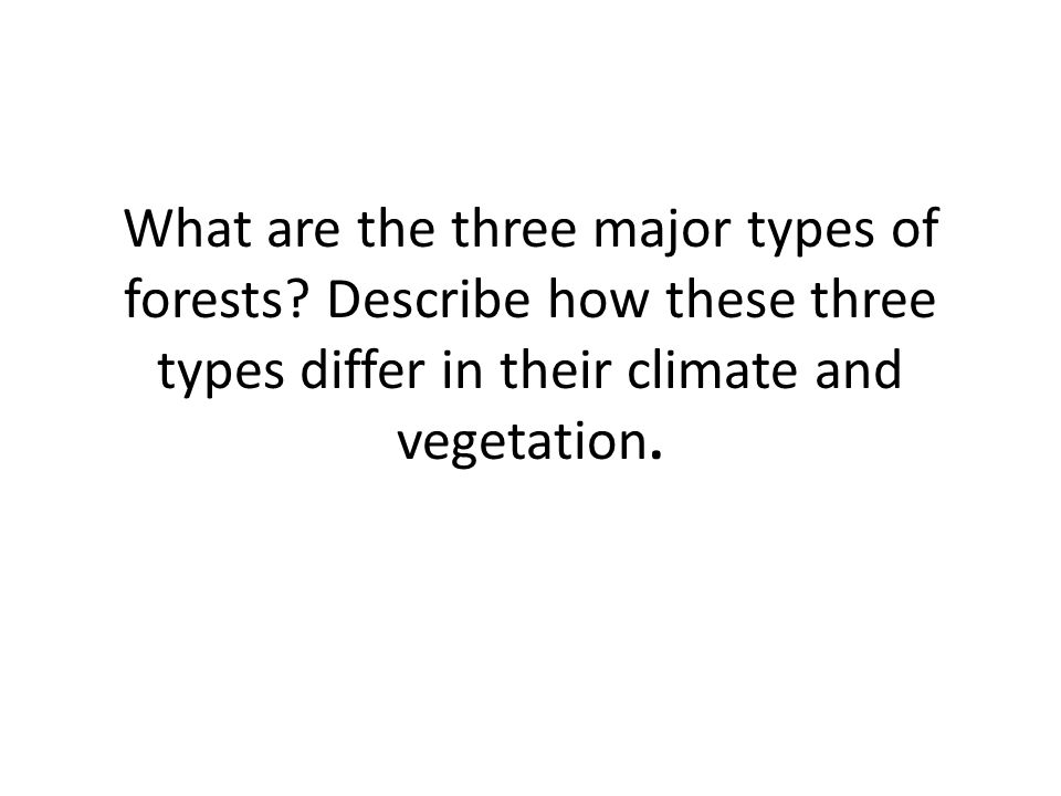 What are the three major types of forests