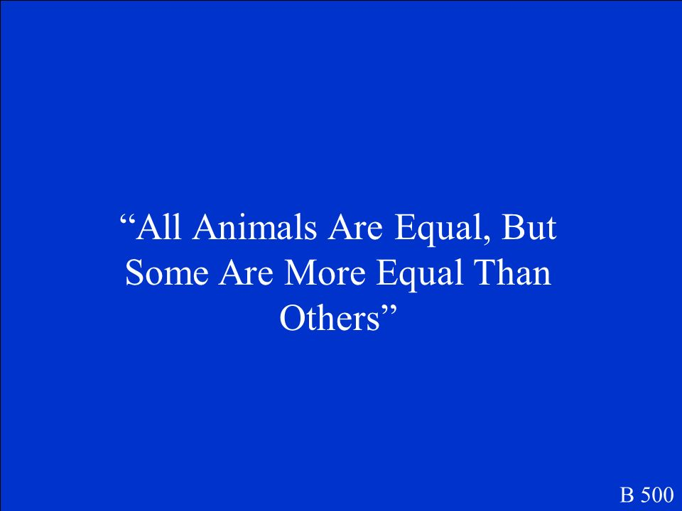 All Animals Are Equal, But Some Are More Equal Than Others