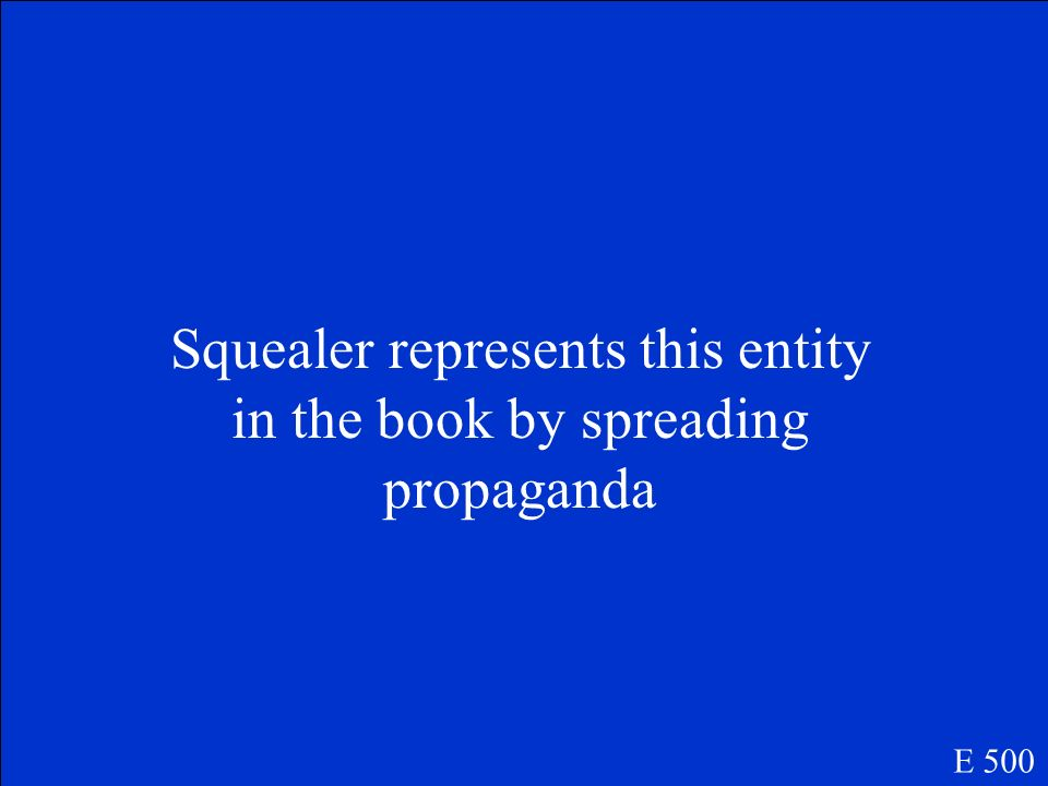 Squealer represents this entity in the book by spreading propaganda