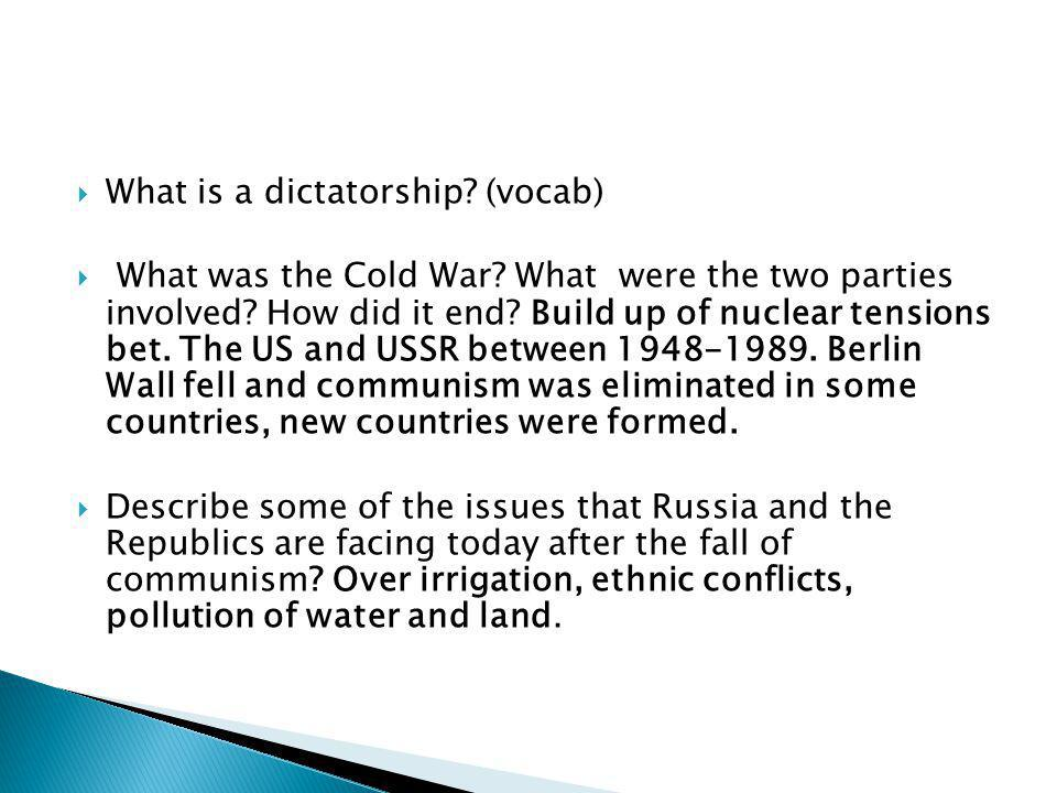 What is a dictatorship (vocab)