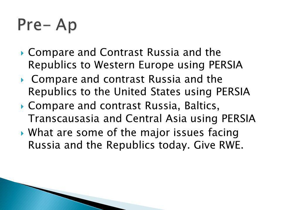 Pre- Ap Compare and Contrast Russia and the Republics to Western Europe using PERSIA.